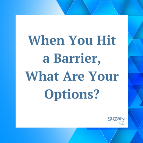 When you hit a barrier, what are your options?